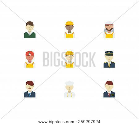 Professional Icons Set. White Worker And Professional Icons With Arab Worker, Male Worker And Indian