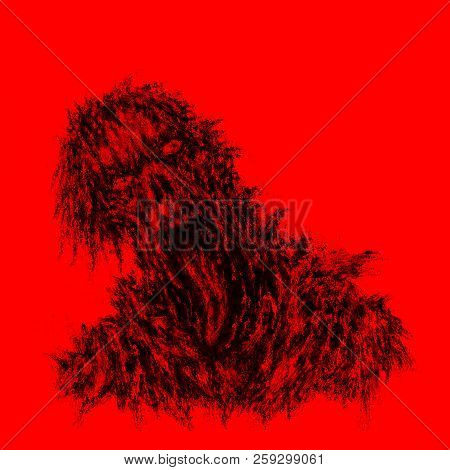Scary Red Zombie With Torn Face And Hanging Tongue. Illustration In Horror Genre