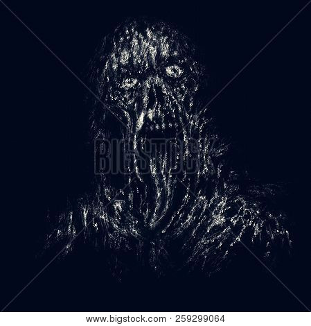 Scary Dark Zombie With Torn Face And Hanging Tongue. Illustration In Horror Genre On Black Backgroun