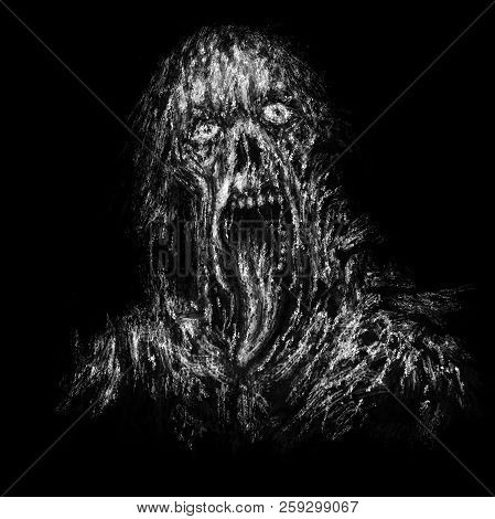 Scary Zombie With Hanging Tongue. Illustration In Horror Genre In Black White Colors .