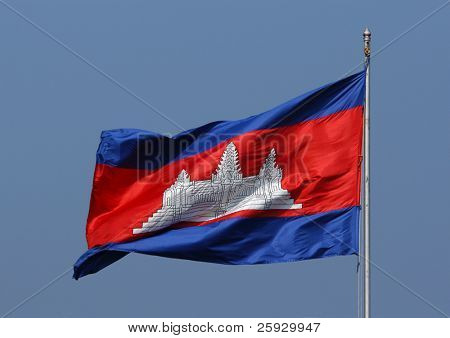 Waving flag of Cambodia