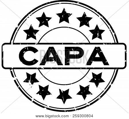 Grunge Black Capa (abbreviation Of Corrective Action And Preventive Action) Word With Star Icon Roun