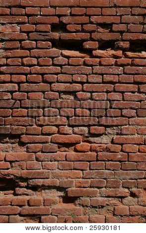 Old brick wall of the Austro-Hungarian fortress of Terezin, Czech Republic