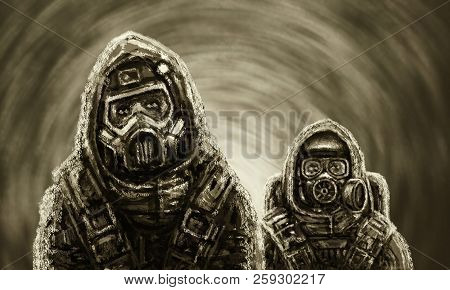 Two People In Protective Suits Examine Infected Area. Biological Threat.