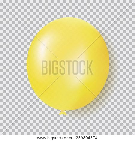 Balloon Of Yellow Color Realistic Design Vector Isolated On Transparent Background. Balloon Made Fro