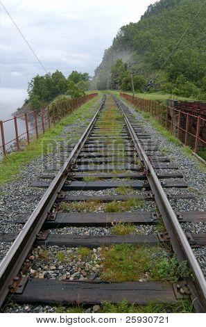 Old railroad bridge at the Circum-Baikal Road, the historical part of Trans-Siberian railway, near Lake Baikal, Russia