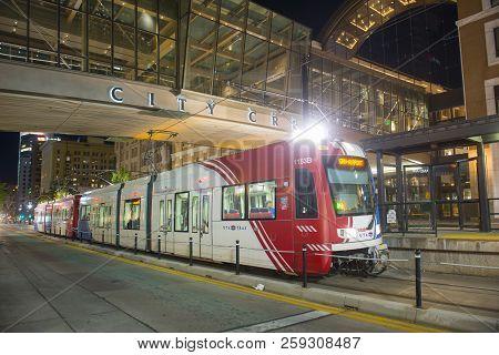 Salt Lake City - Jun. 19, 2018: Uta Light Rail Siemens S70 Blue Line At City Center Station At Night