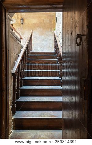 Cairo, Egypt - September 15 2018: House Of Egyptian Architecture Historical Building. Open Wooden Do