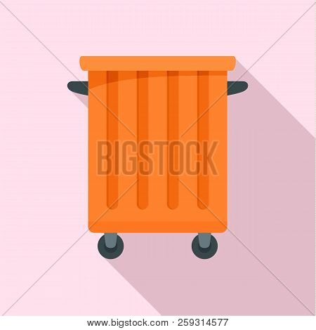Commercial Trash Container Icon. Flat Illustration Of Commercial Trash Container Icon For Web Design