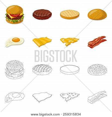 Isolated Object Of Burger And Sandwich Icon. Set Of Burger And Slice Stock Symbol For Web.