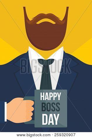 Boss Day Vertical Banner. Flat Illustration Of Boss Day Vertical Banner For Web Design