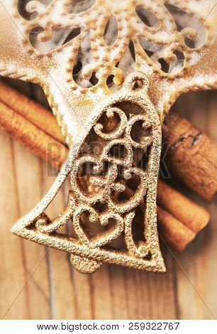 Christmas Bell. Christmas ornament. Christmas background. Top view. Close up.