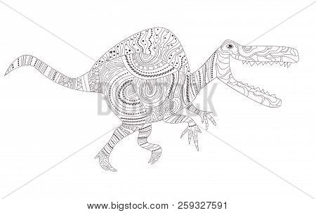 Tyrannosaurus. Dinosaur Coloring Page For Children And Adults ... | 303x450