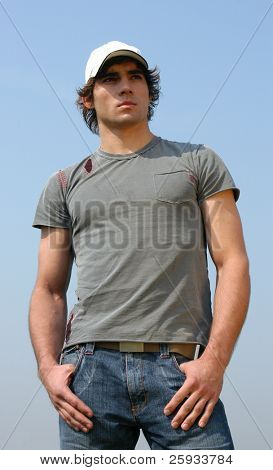 Young man in a gray t-shirt
