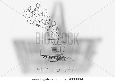 Online Shopping Conceptual Illustration: Laptop With Shopping Basket And Items Purchased Flying Out