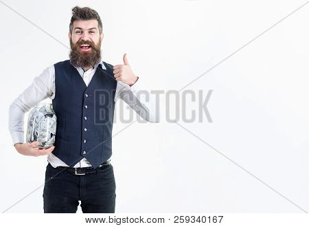 Businessman With Jar Of Money Shows Thumb Up. Idea How To Spend Money. Shopping Concept. Planning To