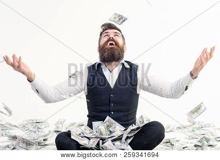 Happy Man Celebrates Success Under Money Rain. Falling Down Dollar Banknotes. Financial Freedom, Suc