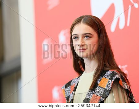 Raffey Cassidy attends 'Vox Lux' photocall during the 75th Venice Film Festival at Sala Casino on September 4, 2018 in Venice, Italy.
