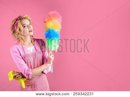 Hygiene Concept. Happy Girl Hold Colorful Duster Brush And Rag. Cleaning Service. Girl Cleaner With