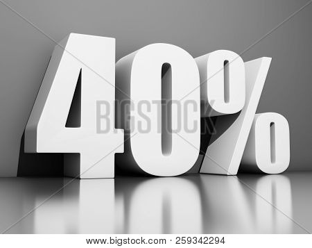 Forty percent discount on gray background. 3D illustration.
