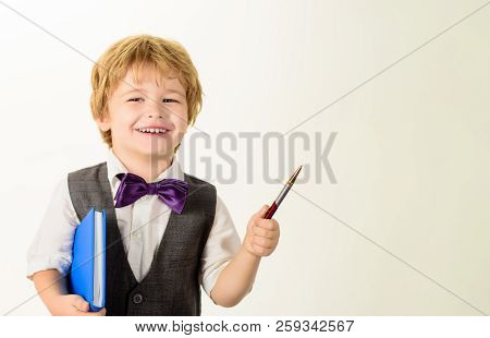 Education, Childhood, Homework, Learning Concept. Back To School&happy Time! Cute Boy With Book And