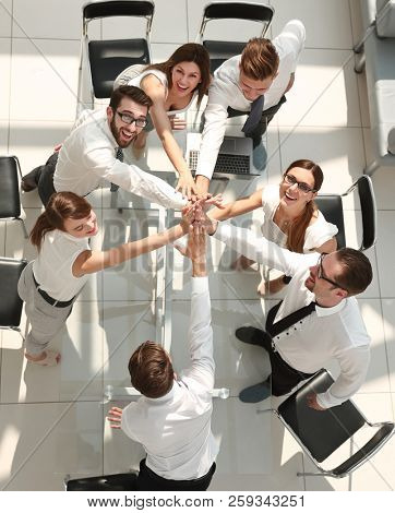 top view.the company's employees are giving each other high five