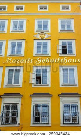 Salzburg, Austria - October 9, 2014: The  birthplace of famous musician Wolfgang Amadeus Mozart in Salzburg