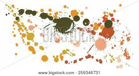 Watercolor Stains Grunge Background Vector. Decorative Ink Splatter, Spray Blots, Mud Spot Elements,