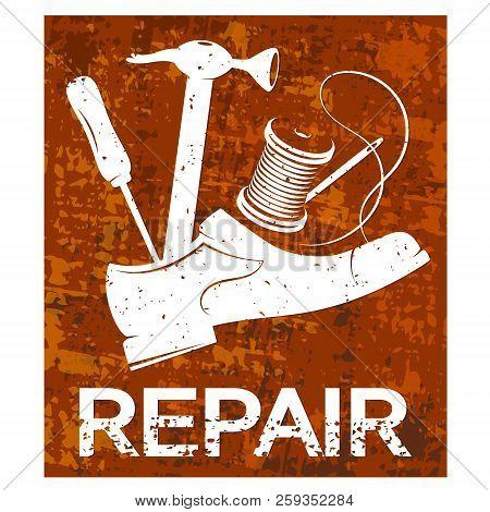 Shoe Repair Poster Vector Symbol Icon Sewing