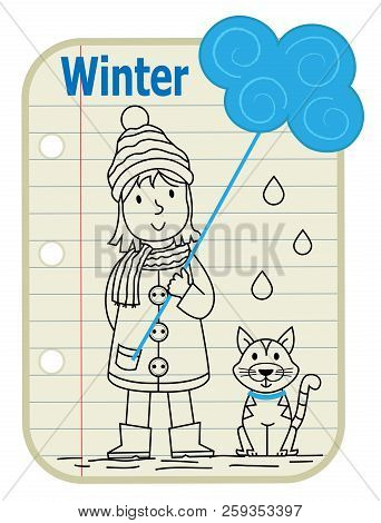 Line Drawing Of A Girl Holding A Sign With A Cloud On It And A Cat Sitting Next To Her. A Notepad As