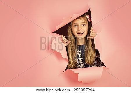 Hairdresser And Casual Style Or Denim. Little Girl With Long Hair. Beauty, Kid Fashion, Cosmetics, H