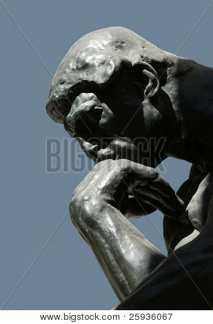 MOSCOW - AUGUST 2: The Thinker, famous statue by Auguste Rodin, at the exhibition of Auguste Rodin in Moscow, Russia, on August 2, 2010