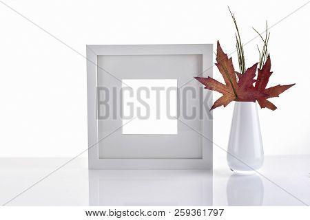 Artistic Autumn Photo Frame Mockup