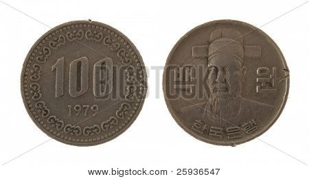 100 South Korean Won coin isolated on white