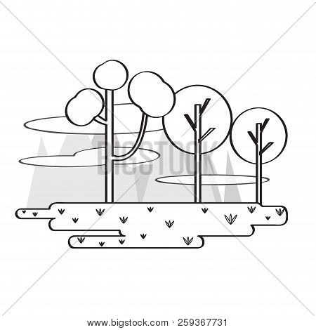 Vie Wof A Public Park With Trees. Vector Illustration Design