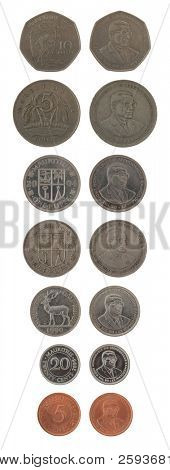 Set of Mauritian Rupee coins isolated on white poster