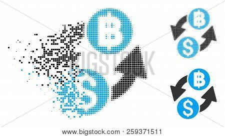 Dollar Baht Exchange Icon In Fragmented, Dotted Halftone And Solid Versions. Elements Are Composed I