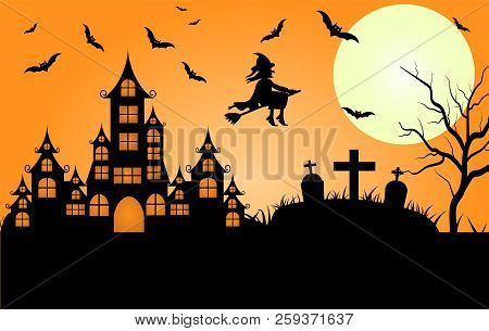 Happy Halloween. A Halloween Cat In A Witch Hat Flies On A Broomstick Against The Full Moon At Night