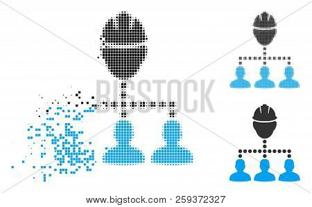 Engineer Staff Relations Icon In Dispersed, Pixelated Halftone And Whole Variants. Particles Are Org