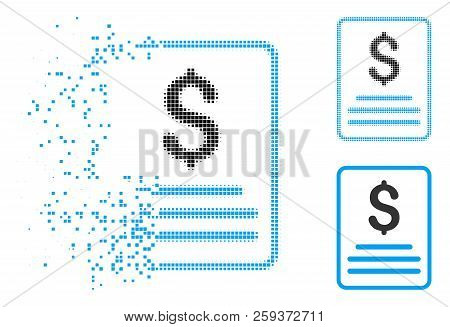 Invoice Icon In Dissolved, Pixelated Halftone And Whole Variants. Elements Are Combined Into Vector
