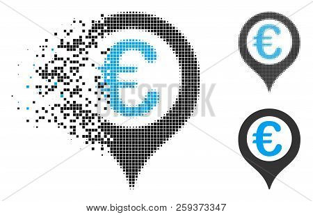 Euro Geotargeting Icon In Fragmented, Pixelated Halftone And Undamaged Variants. Elements Are Combin