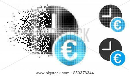 Euro Recurring Payments Icon In Dispersed, Dotted Halftone And Whole Versions. Cells Are Organized I
