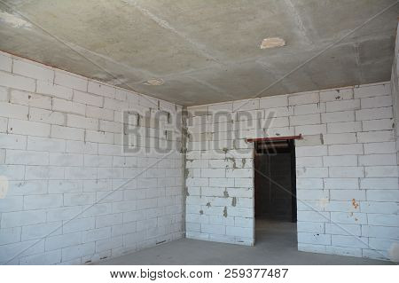 Interior Room Under Construction. Wall Without Plasterwork.