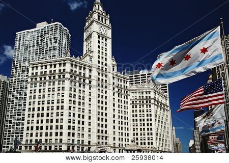 Wrigley building clock tower in downtown Chicago