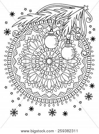 Christmas Mandala Coloring Page. Adult Coloring Book. Holiday Decore, Balls And Snowflake. Hand Draw