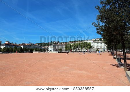 Wide Square In Lyon Called Place Bellecour In France