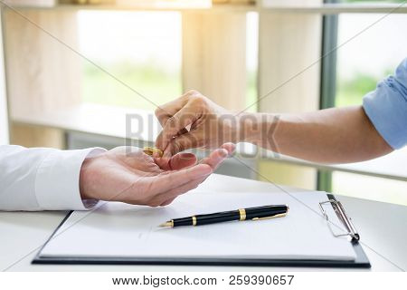 Hands Of Wife, Husband Signing Decree Of Divorce, Dissolution, Canceling Marriage, Lfiling Divorce P