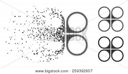 Air copter icon in fragmented, dotted halftone and undamaged versions. Fragments are arranged into vector dissolving air copter icon. Disintegration effect involves rectangle dots. poster