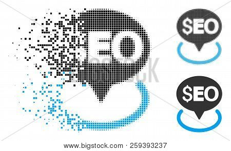 Seo Geotargeting Icon In Dissolved, Dotted Halftone And Whole Variants. Pixels Are Organized Into Ve