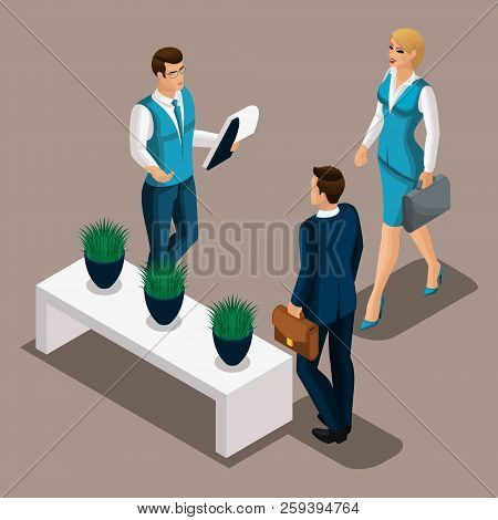 Isometric Bank Managers Meet The Client, The Entrepreneur Came For A Loan To The Bank. Loan In A Ban